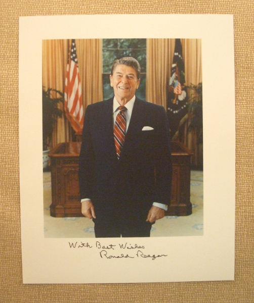 President Ronald Reagan Signed and Inscribed with Greeting 8 x 10 Color Oval Office Photo