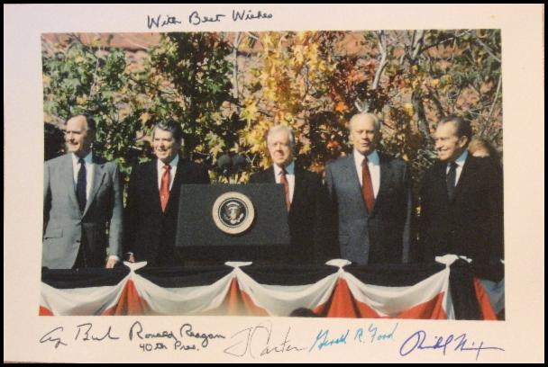 Five Presidents Photo Signed by All with Extra Reagan Inscription and 40th Pres.