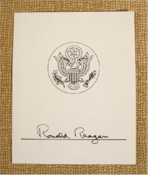 Ronald Reagan Signed Presidential Book Plate