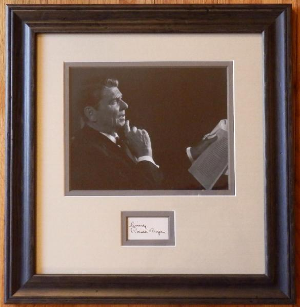Ronald Reagan In Thought Display with Sincerely, Signature Cut