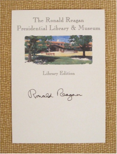 Ronald Reagan signed Library Book Plate