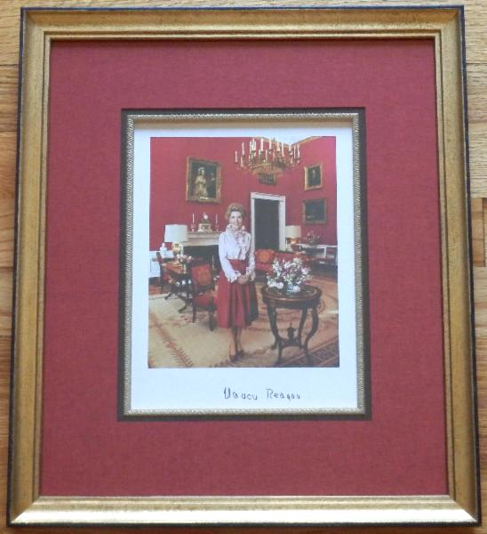 Nancy Reagan Signed 8 x 10 Color Photo Beautifully Framed