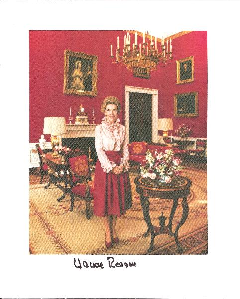 Nancy Reagan Signed Red Room 8x10 Color Photo
