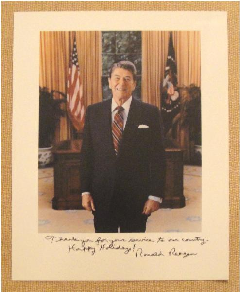 President Ronald Reagan Signed 8 X 10 Color Oval Office Photo Thank you for your Service Holiday Inscription