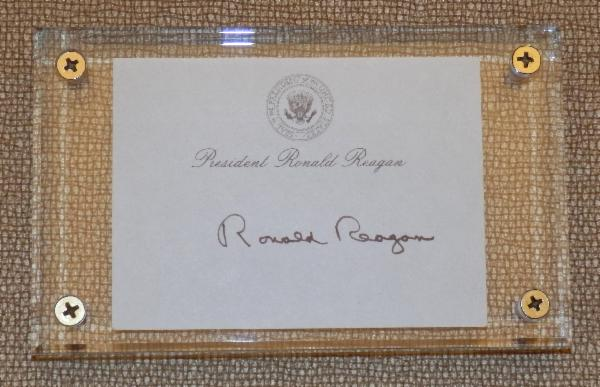 Ronald Reagan Signed Post-It-Note with Lucite Display