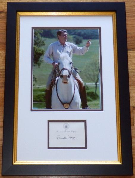 Ronald Reagan on Horseback Display with Signed Post-It-Note