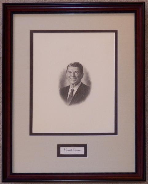 Ronald Reagan Classic Engraving as President Display with Signature Cut