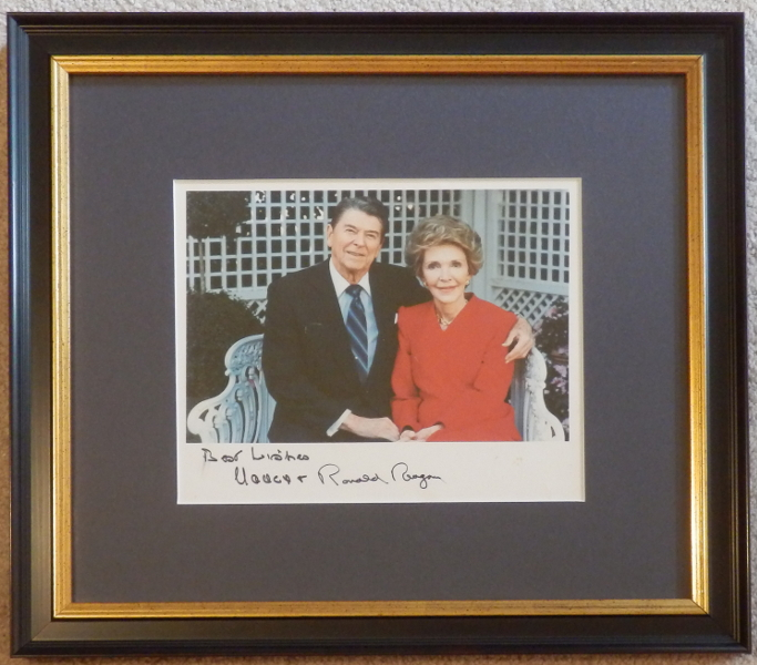 Ronald and Nancy Reagan Signed 10 x 8 Color Photo Framed
