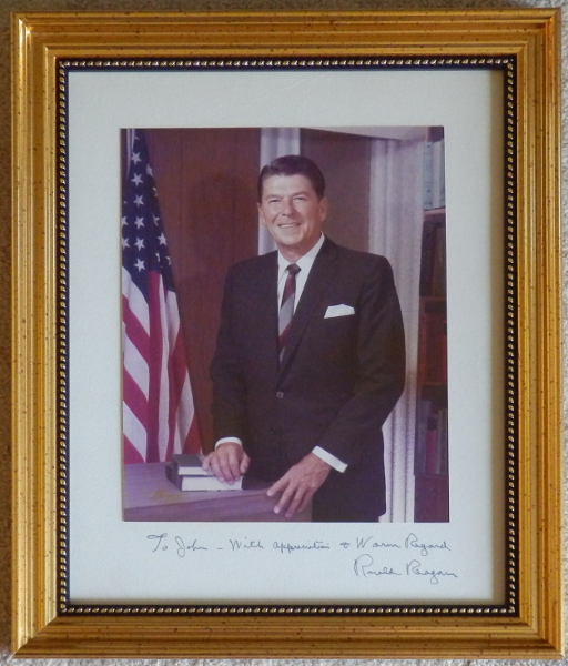 Ronald Reagan Signed Color Photo Framed