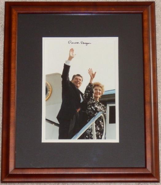 President Ronald Reagan Signed Photo with First Lady Nancy Reagan, Waving Entering Helicopter
