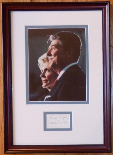 Ronald and Nancy Reagan Display with a Signature Cut Signed by Both