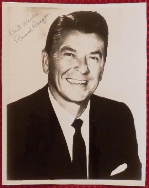 Ronald Reagan Signed and Inscribed with Greeting 8 x 10 Black and White Glossy Governor Photo