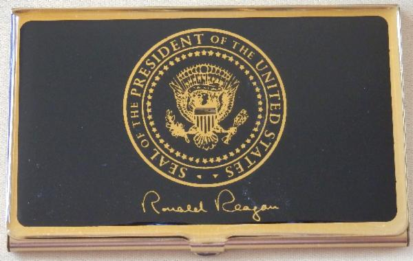 <p style=margin-bottom: 0in; ><font color=#000000><font face=Times New Roman><font size=4>RonaldReagan Signed Business Card &amp; Accompanying Presidential Seal Case</font></font></font></p>