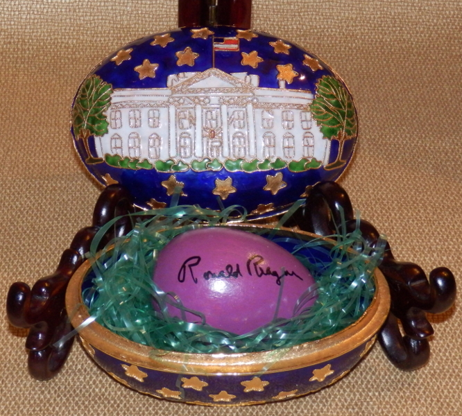 Ronald Reagan Signed White House Easter Egg with Egg Shaped Trinket Box