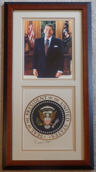 Ronald Reagan in the Oval Office Display with Signed Seal of the President of the United States