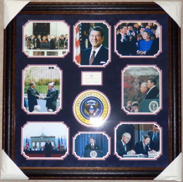 Ronald Reagan Multi-photo Display with Signed Post-It-Note