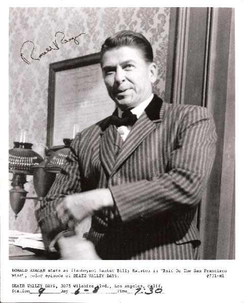<font size=3>Ronald Reagan Signed Vintage 8 x 10 Black and White Hollywood Years Photo Still TV Show Death Valley Days</font>