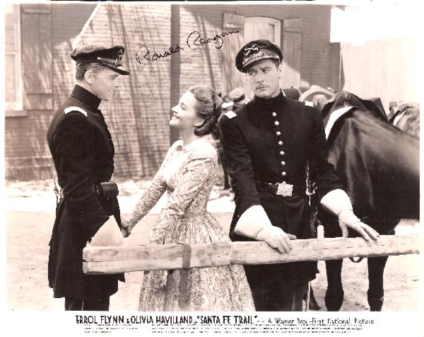 Ronald Reagan Signed Vintage 10 x 8 Hollywood Years Black and White Photo Still from the movie Santa Fe Trail