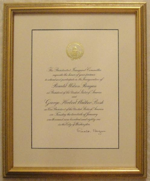 Ronald Reagan and Nancy Reagan Signed 1981 Inaugural Invitations Framed, Matched Set of Two