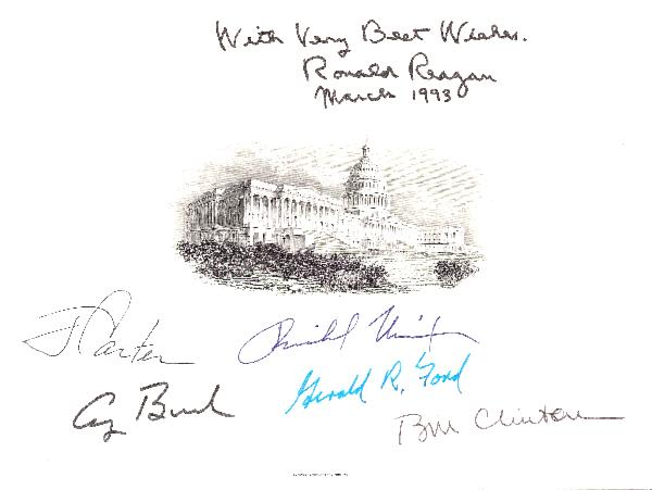 Six Presidents Signed&nbsp;Engraving&nbsp;with Extra Reagan Inscription and Date<div><br></div>